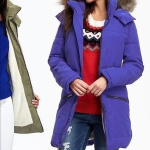 M Thick Sherpa Lined Winter Hooded Puffer Coat
